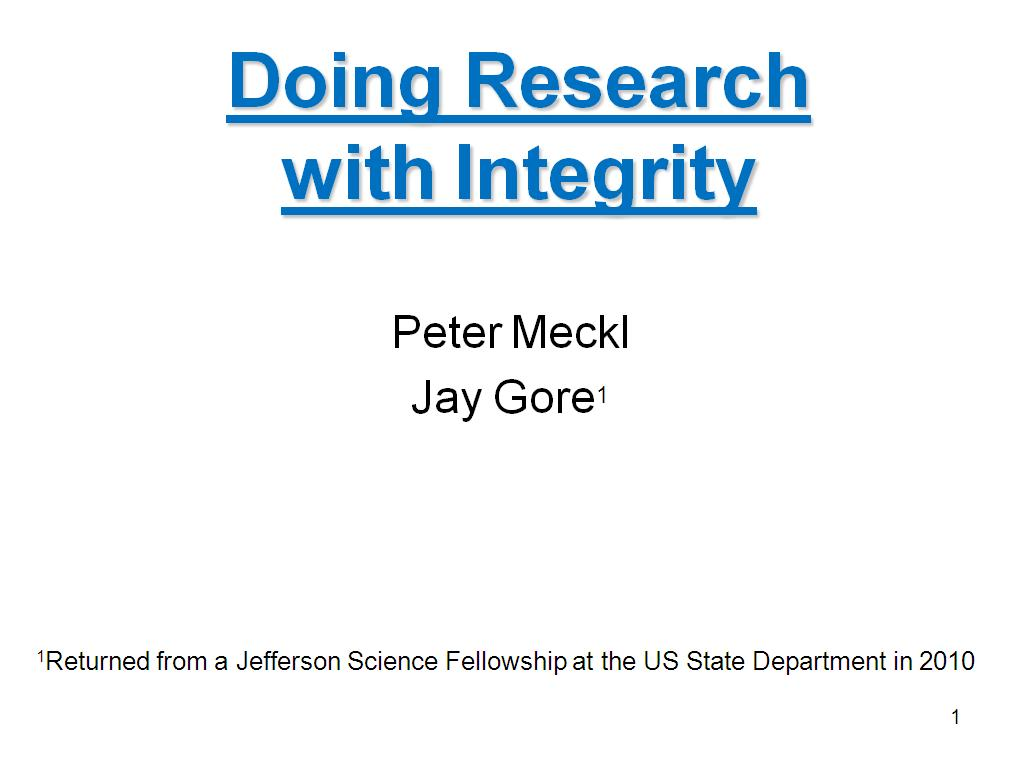 Doing Research with Integrity