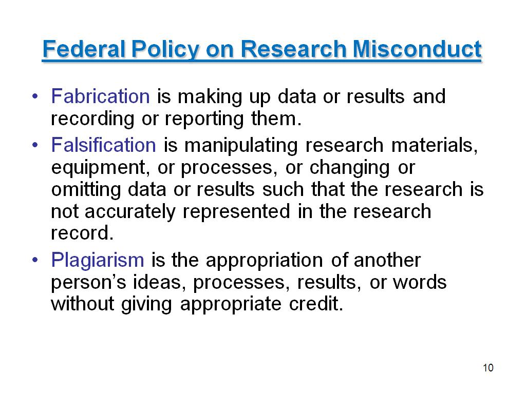 Federal Policy on Research Misconduct