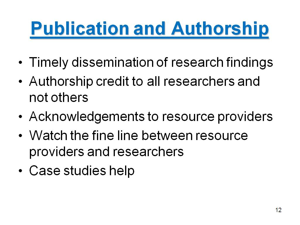 Publication and Authorship