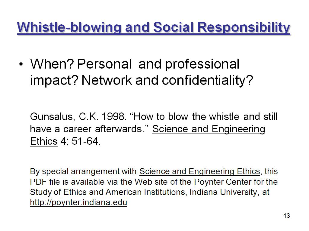 Whistle-blowing and Social Responsibility