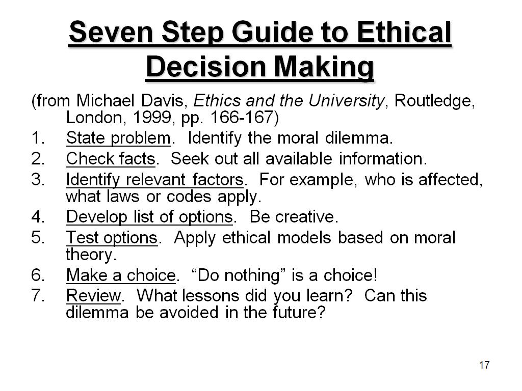 Seven Step Guide to Ethical Decision Making