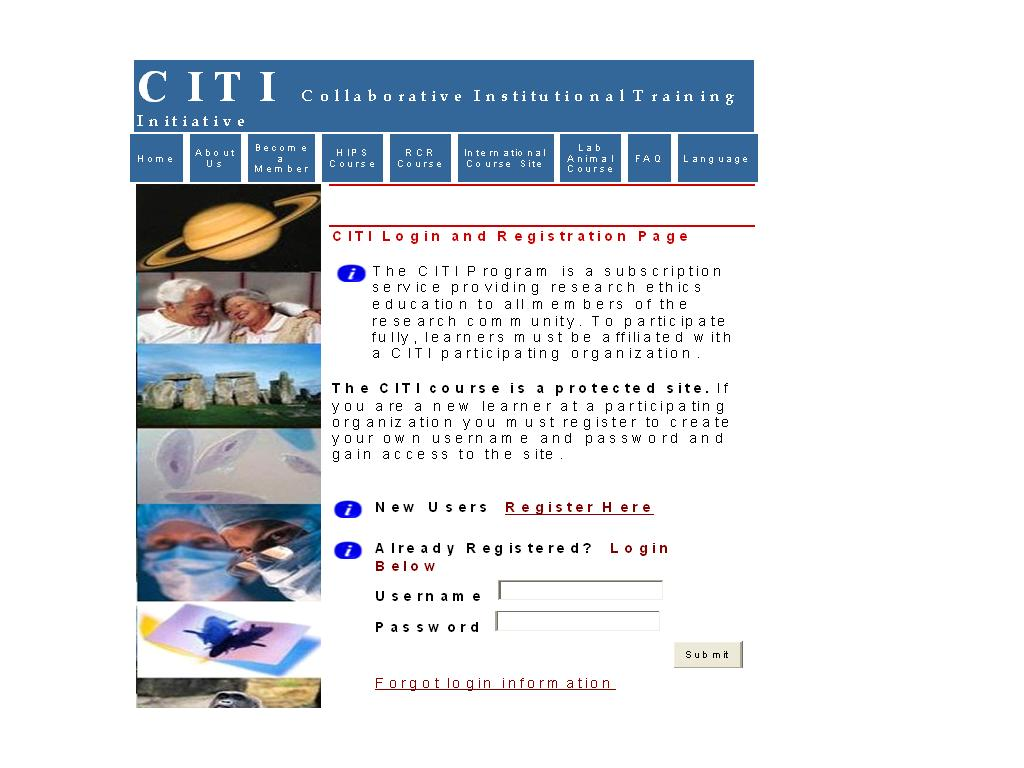 CITI Login and Registration Page