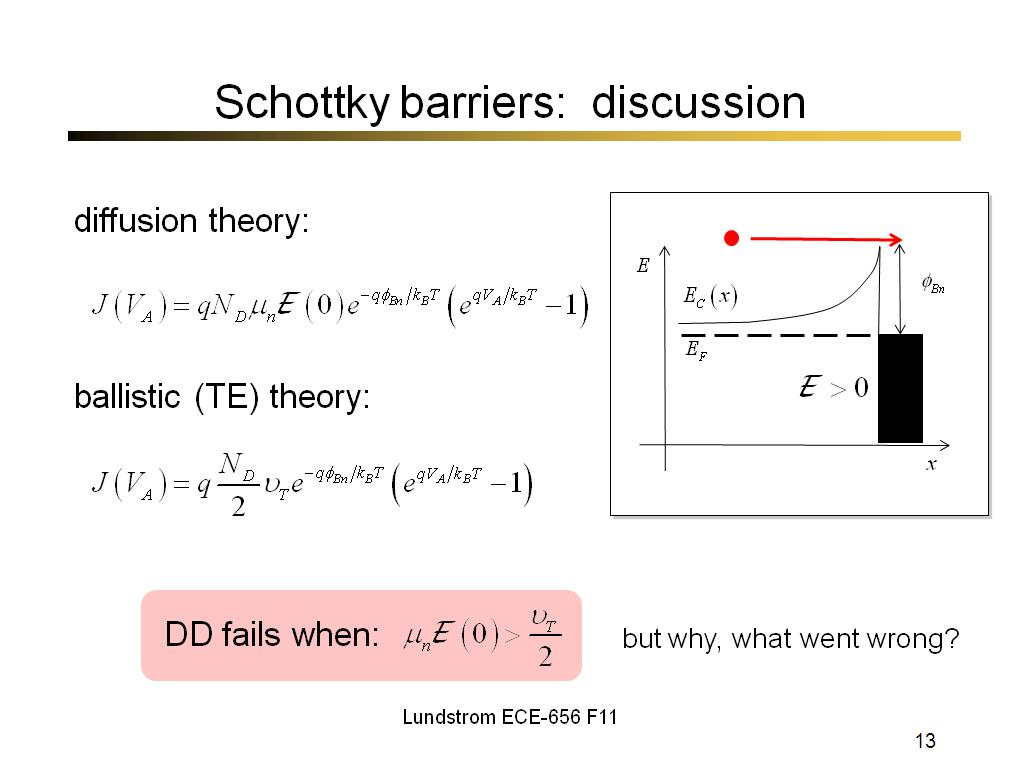 Schottky barriers: discussion