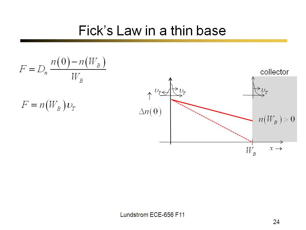 Fick's Law in a thin base