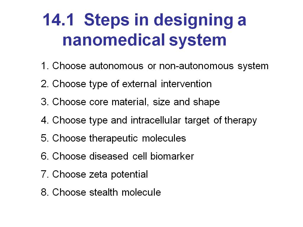 14.1 Steps in designing a nanomedical system