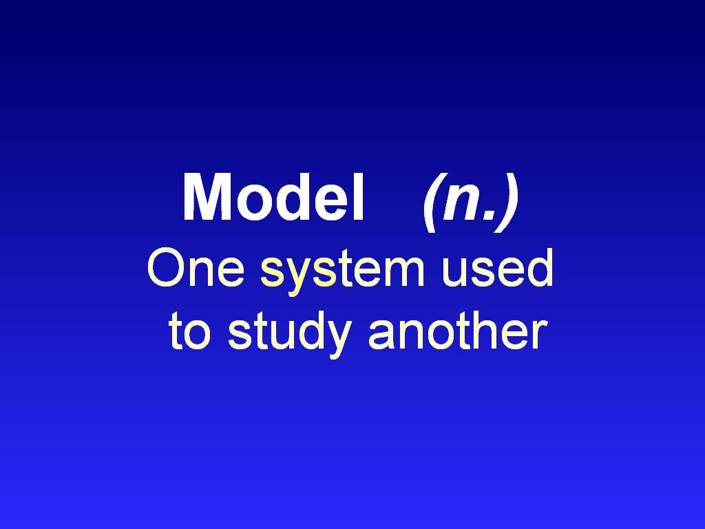 Model (n.) One system used to study another