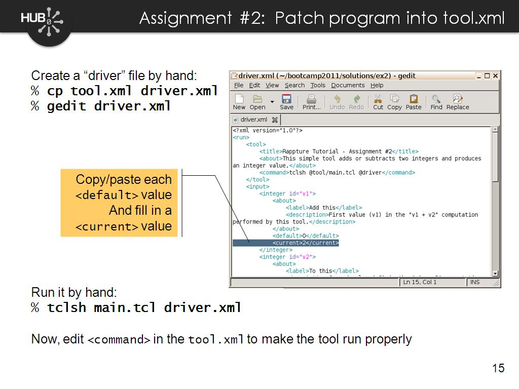 Assignment #2: Patch program into tool.xml