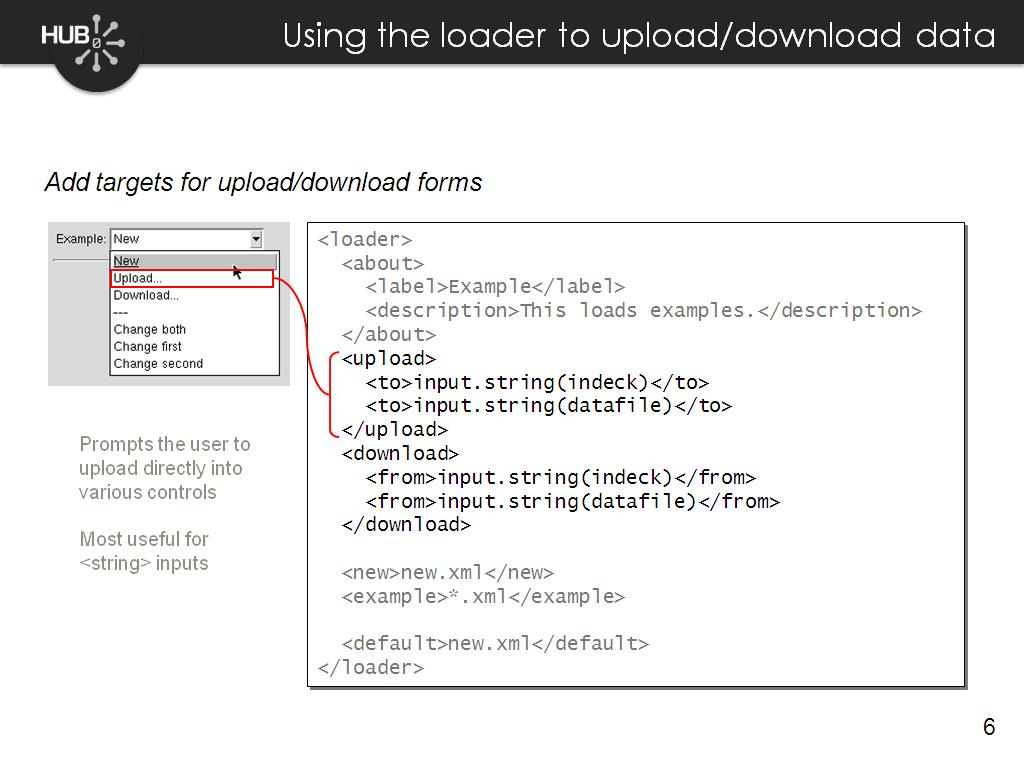 Using the loader to upload/download data