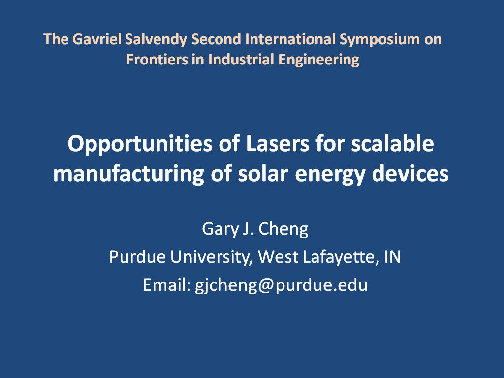 Opportunities of Lasers for scalable manufacturing of solar energy devices