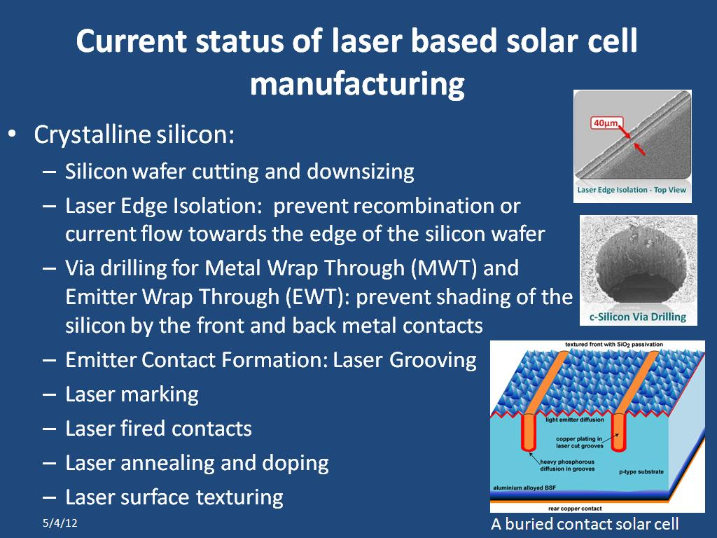 Current status of laser based solar cell manufacturing