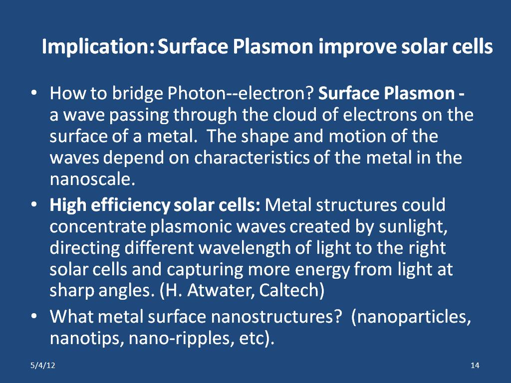 Implication: Surface Plasmon improve solar cells