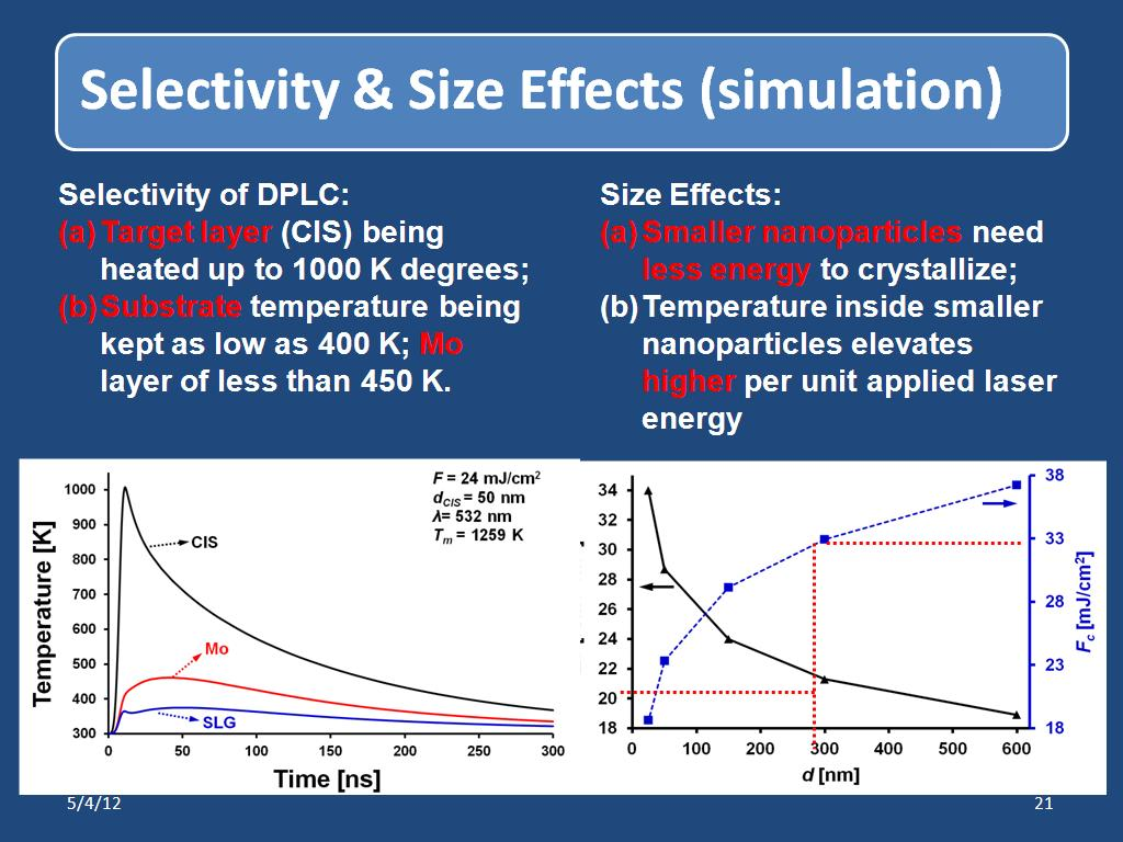 Selectivity & Size Effects (simulation)