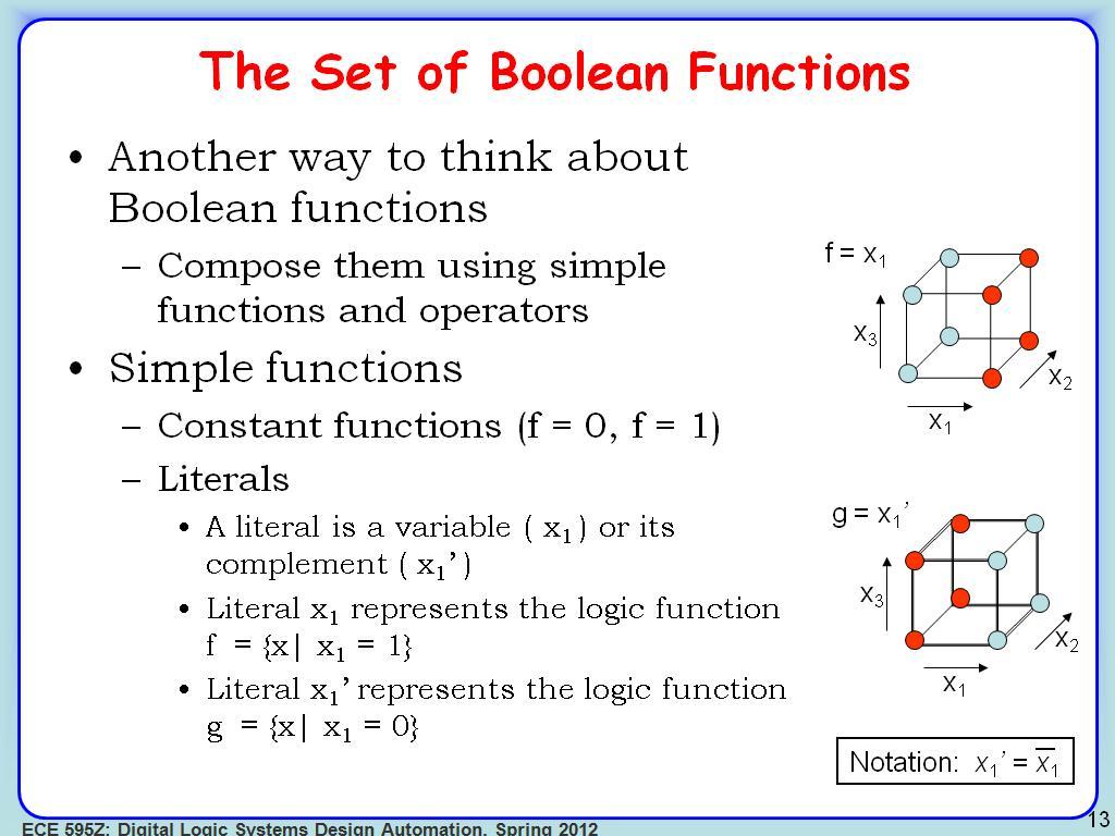 ... ECE 595Z Le... C- Boolean Function Examples
