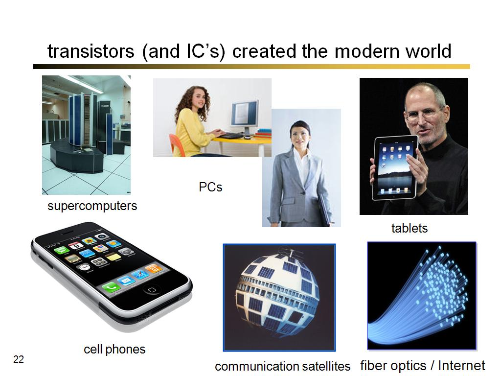 transistors (and IC's) created the modern world