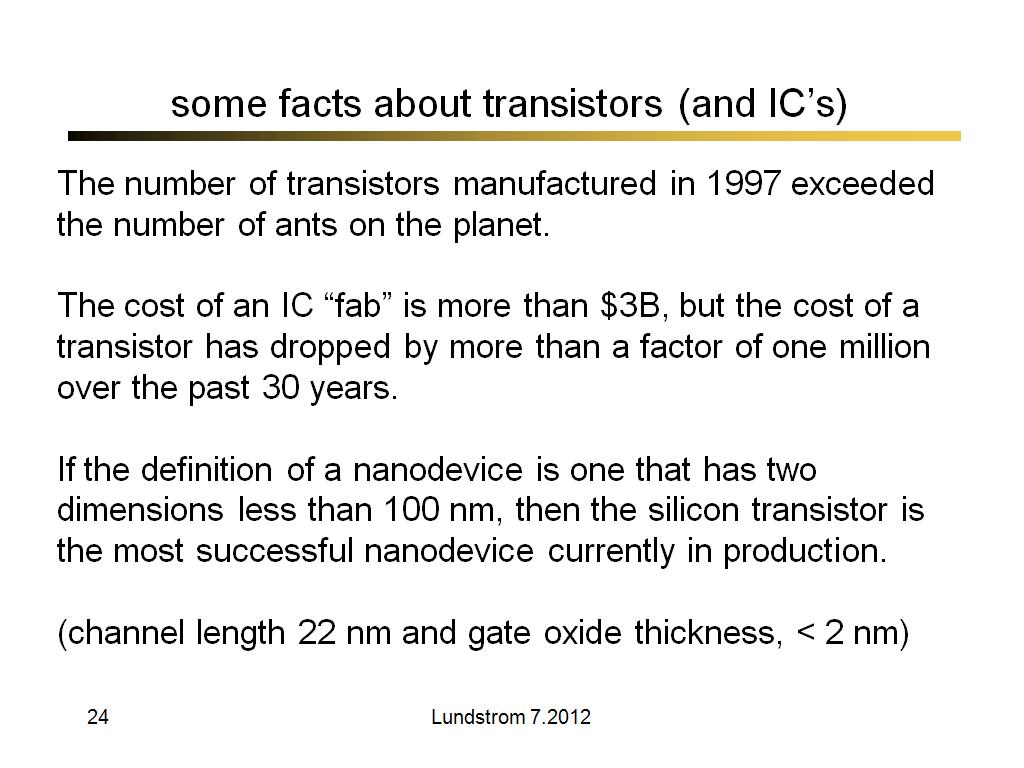 some facts about transistors (and IC's)