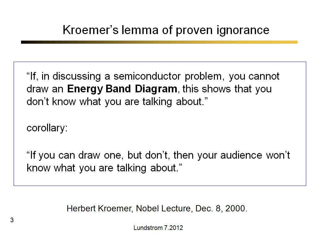 Kroemer's lemma of proven ignorance