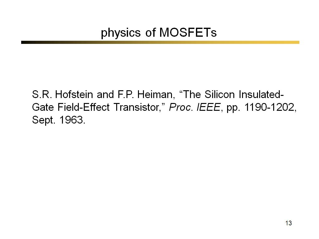 physics of MOSFETs