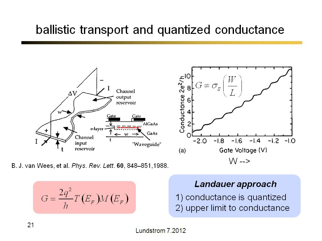 ballistic transport and quantized conductance