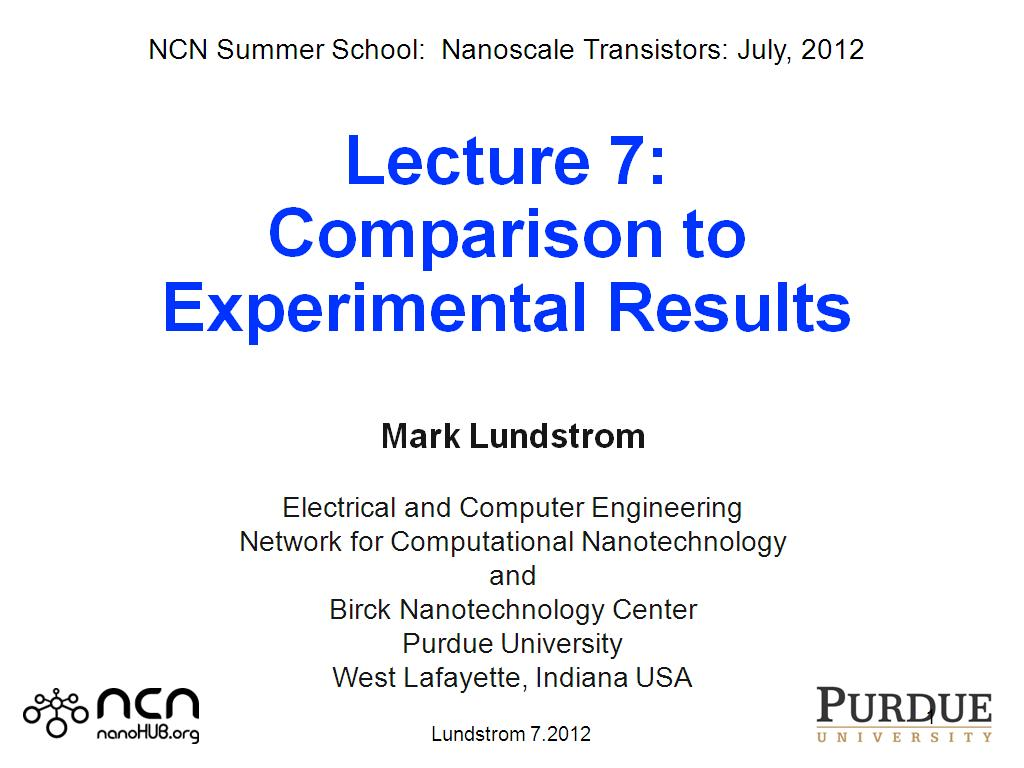 Lecture 7: Comparison to Experimental Results