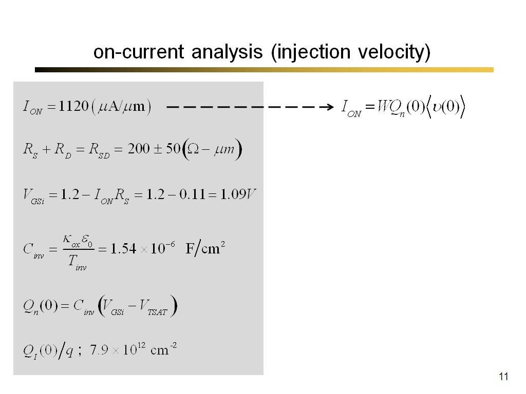 on-current analysis (injection velocity)