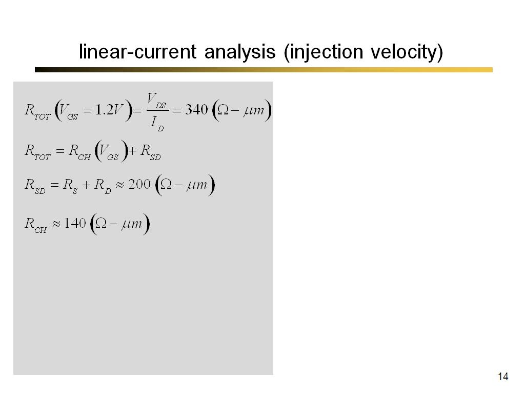 linear-current analysis (injection velocity)