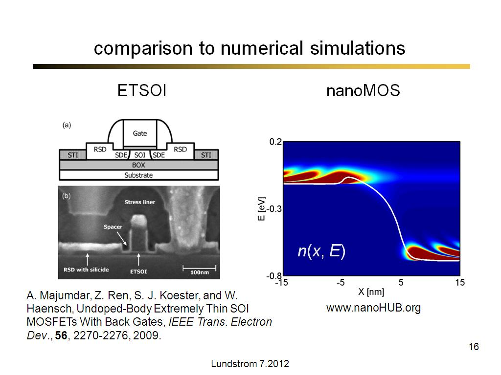 comparison to numerical simulations