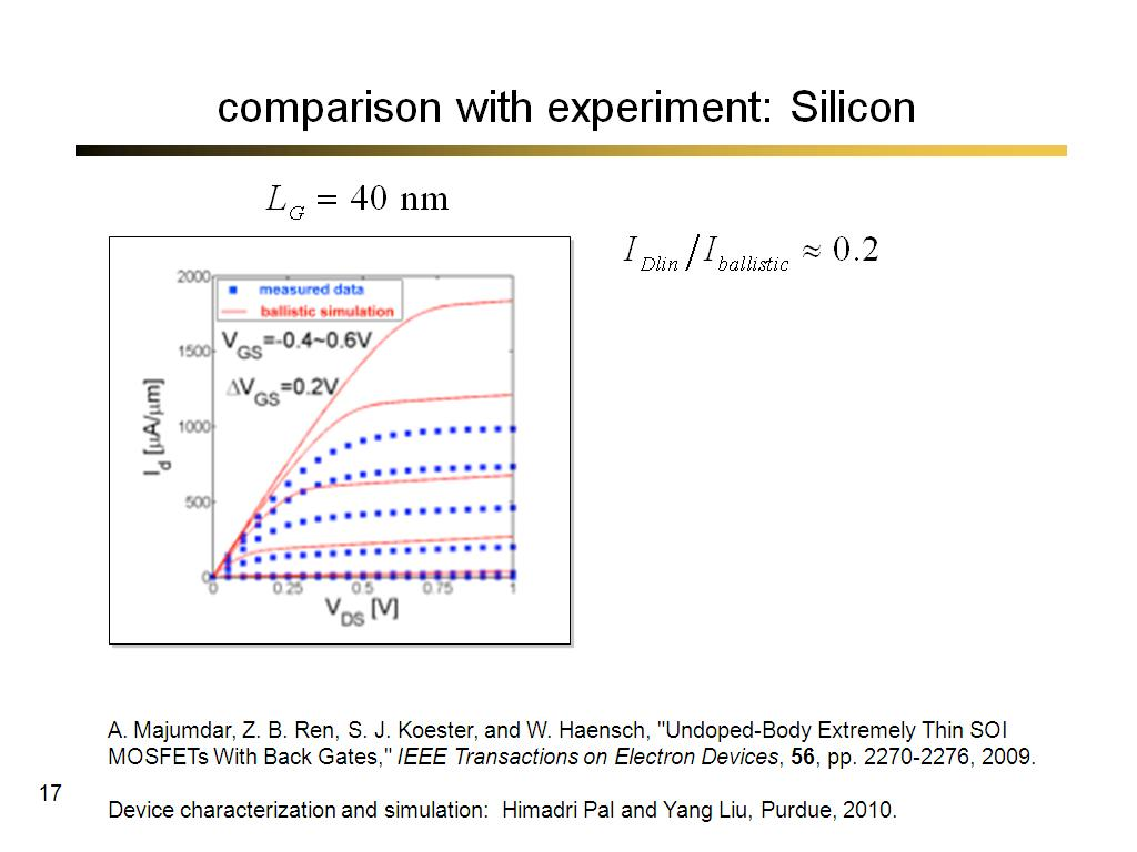 comparison with experiment: Silicon