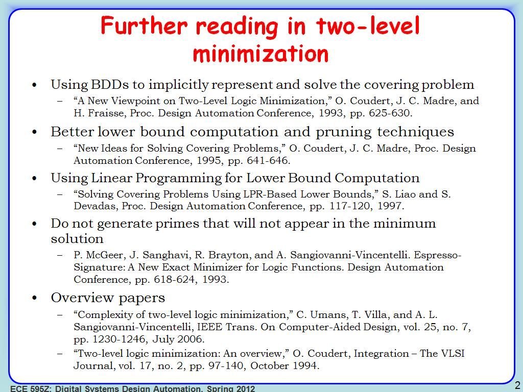 Further reading in two-level minimization