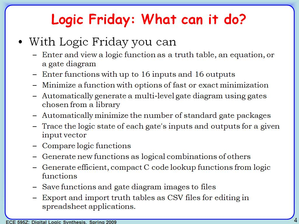Logic Friday: What can it do?