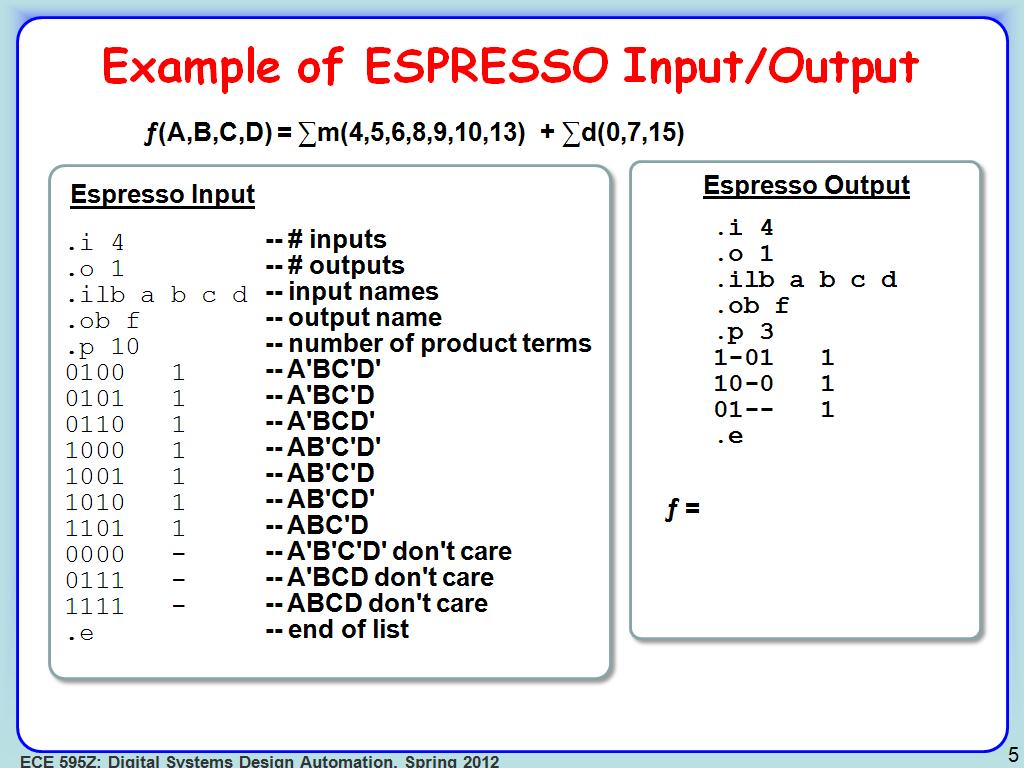 Example of ESPRESSO Input/Output