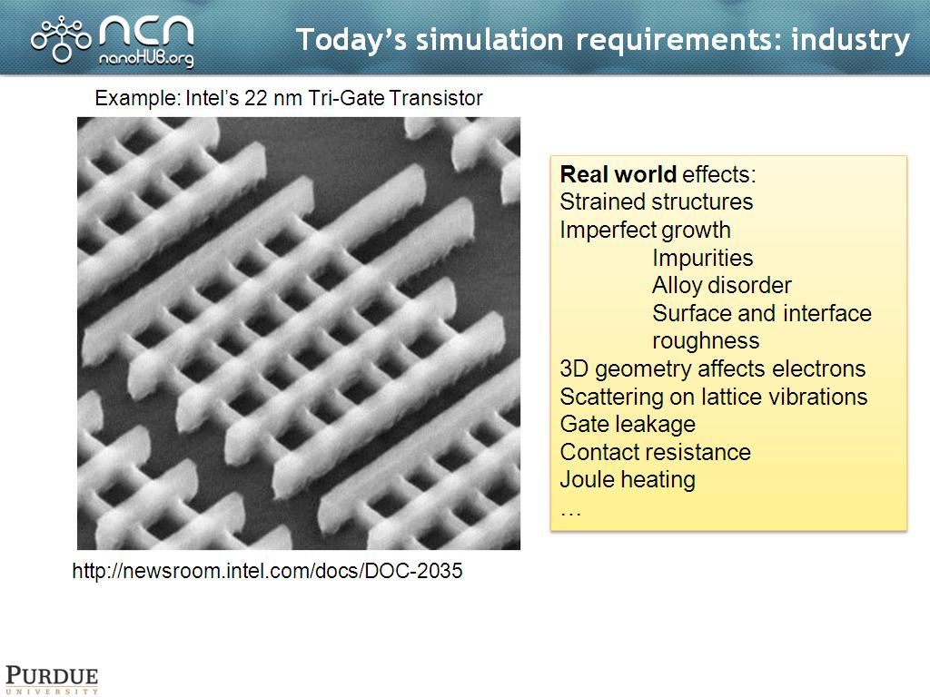 Today's simulation requirements: industry
