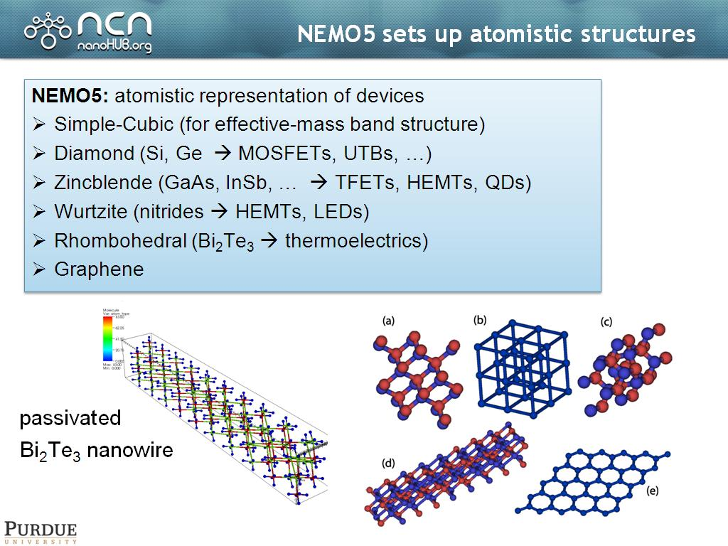 NEMO5 sets up atomistic structures