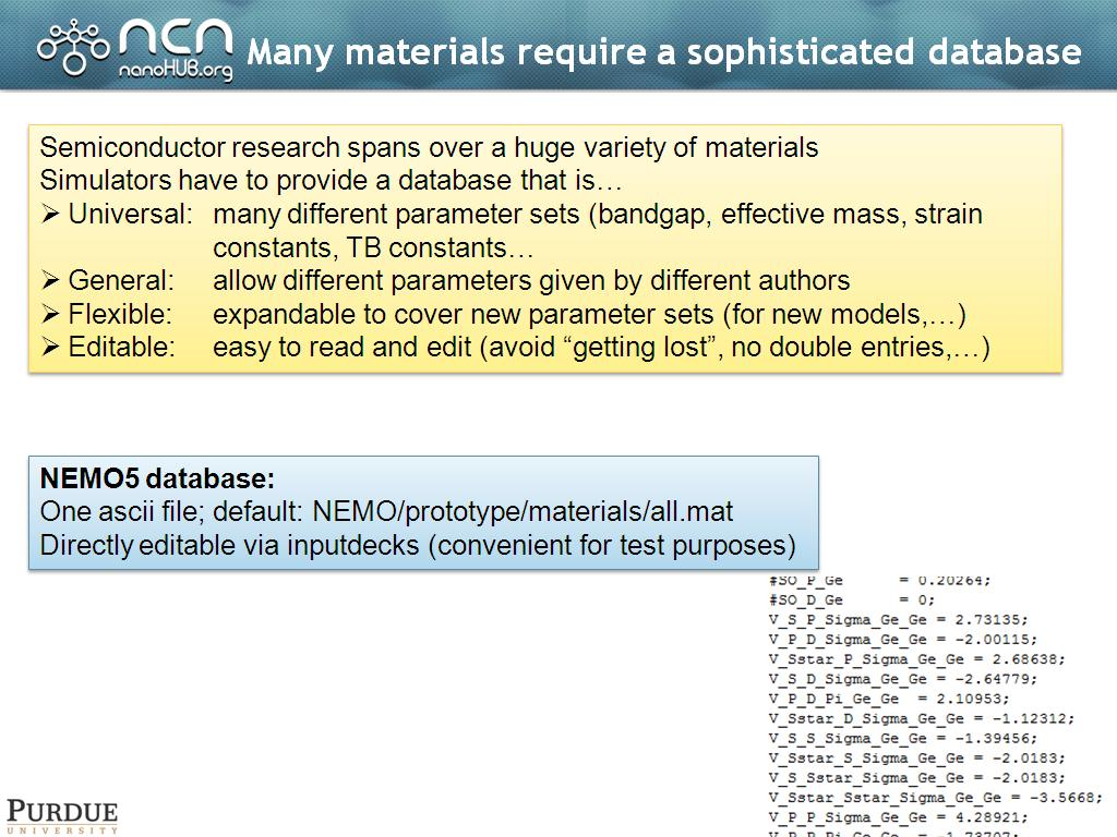 Many materials require a sophisticated database