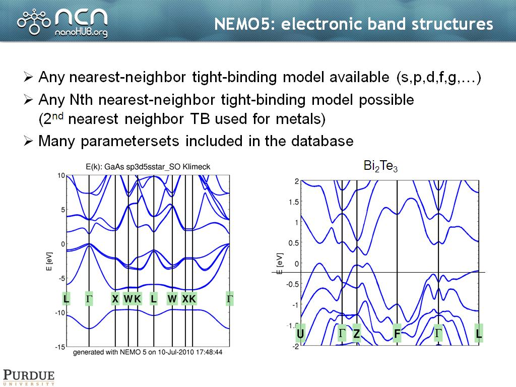 NEMO5: electronic band structures