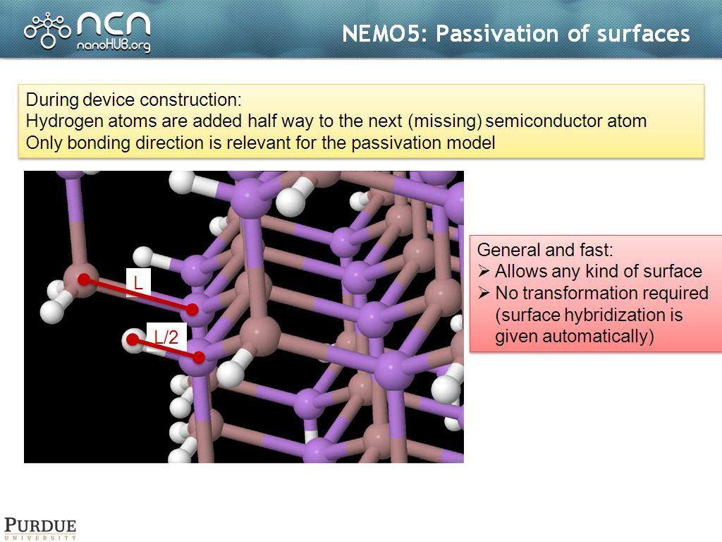 NEMO5: Passivation of surfaces