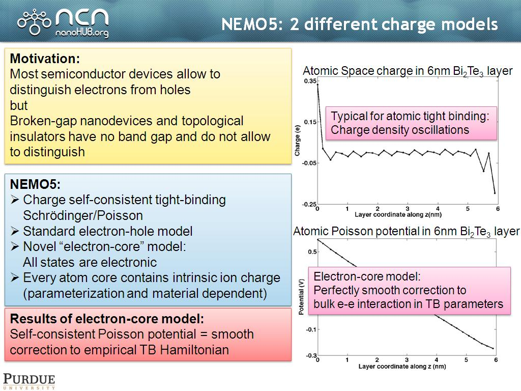 NEMO5: 2 different charge models