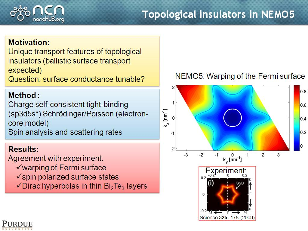 Topological insulators in NEMO5