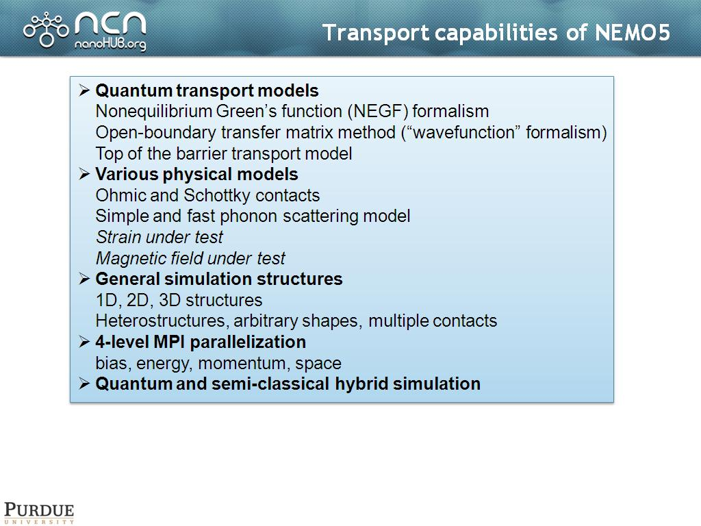 Transport capabilities of NEMO5