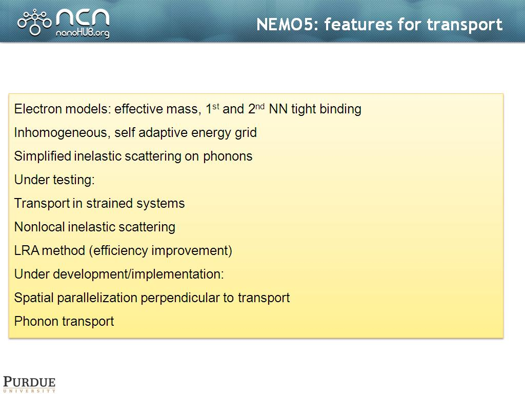 NEMO5: features for transport