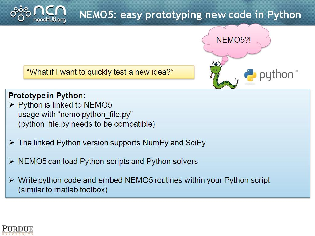 NEMO5: easy prototyping new code in Python
