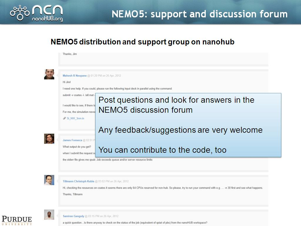 NEMO5: support and discussion forum