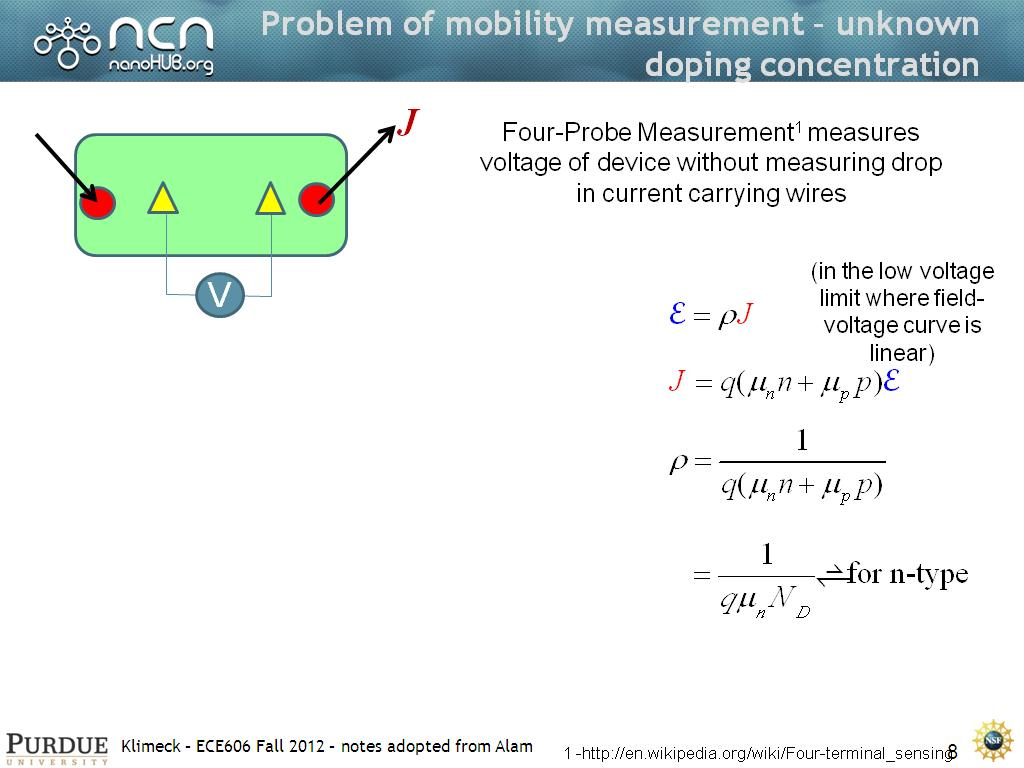 Problem of mobility measurement – unknown doping concentration