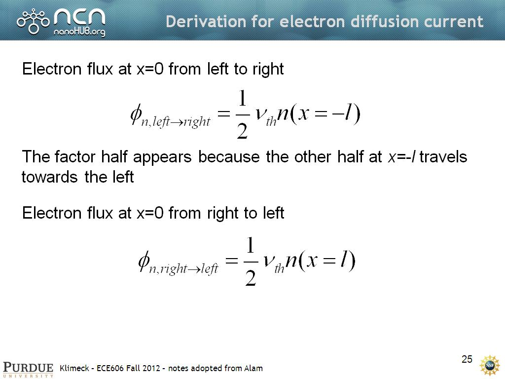 Derivation for electron diffusion current