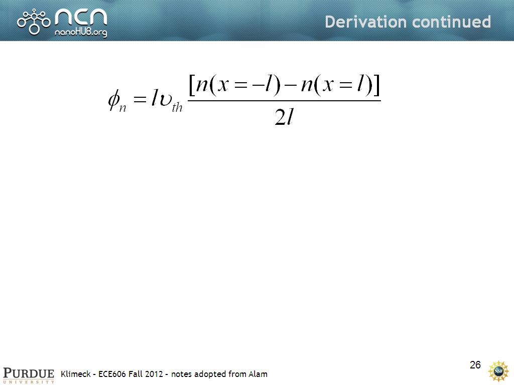 Derivation continued