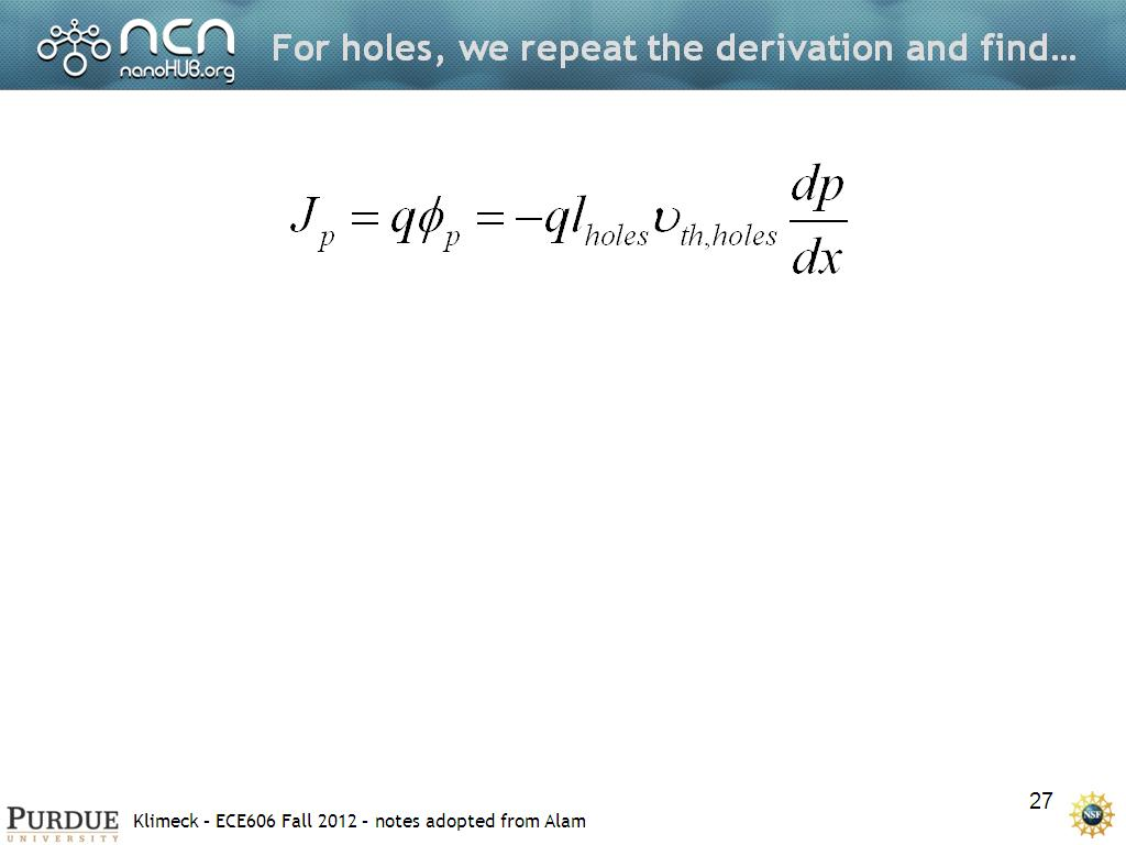 For holes, we repeat the derivation and find…