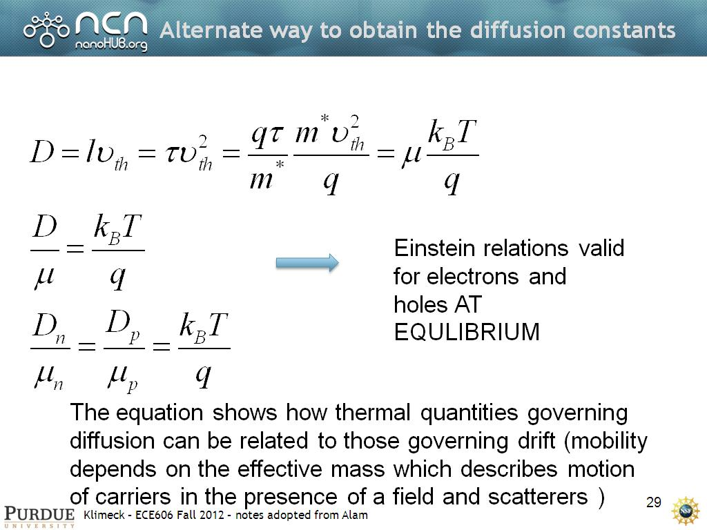 Alternate way to obtain the diffusion constants