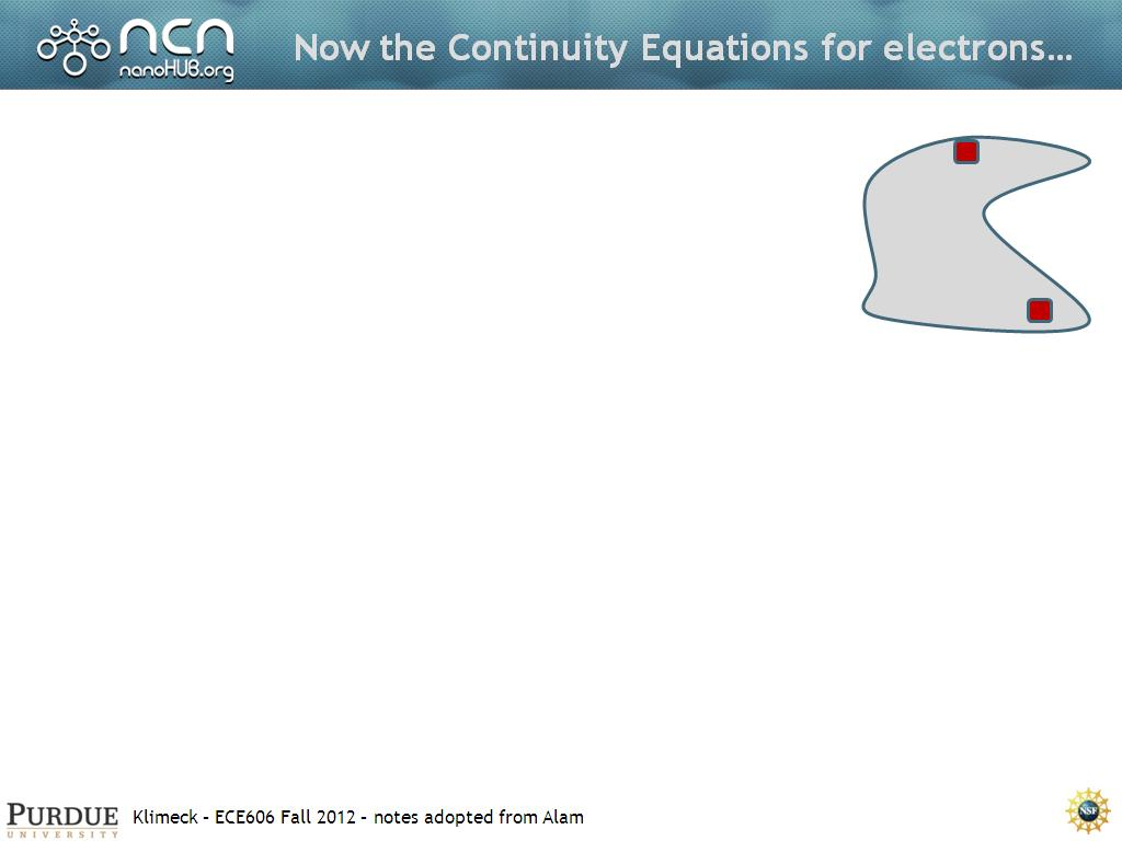 Now the Continuity Equations for electrons…