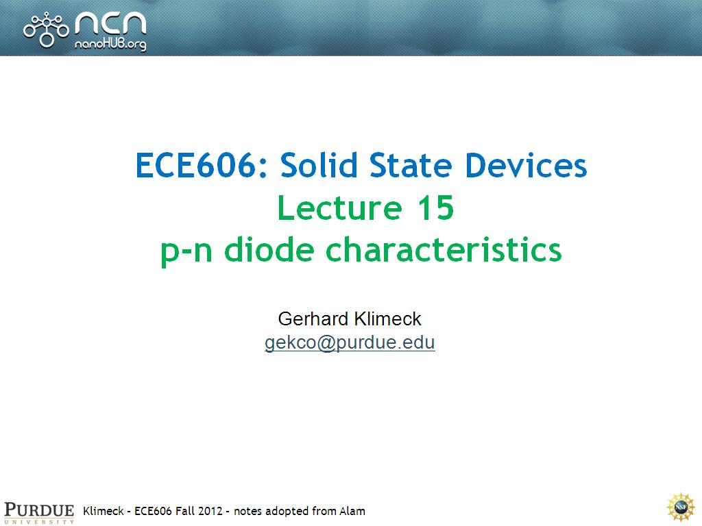 Lecture 15: p-n diode characteristics