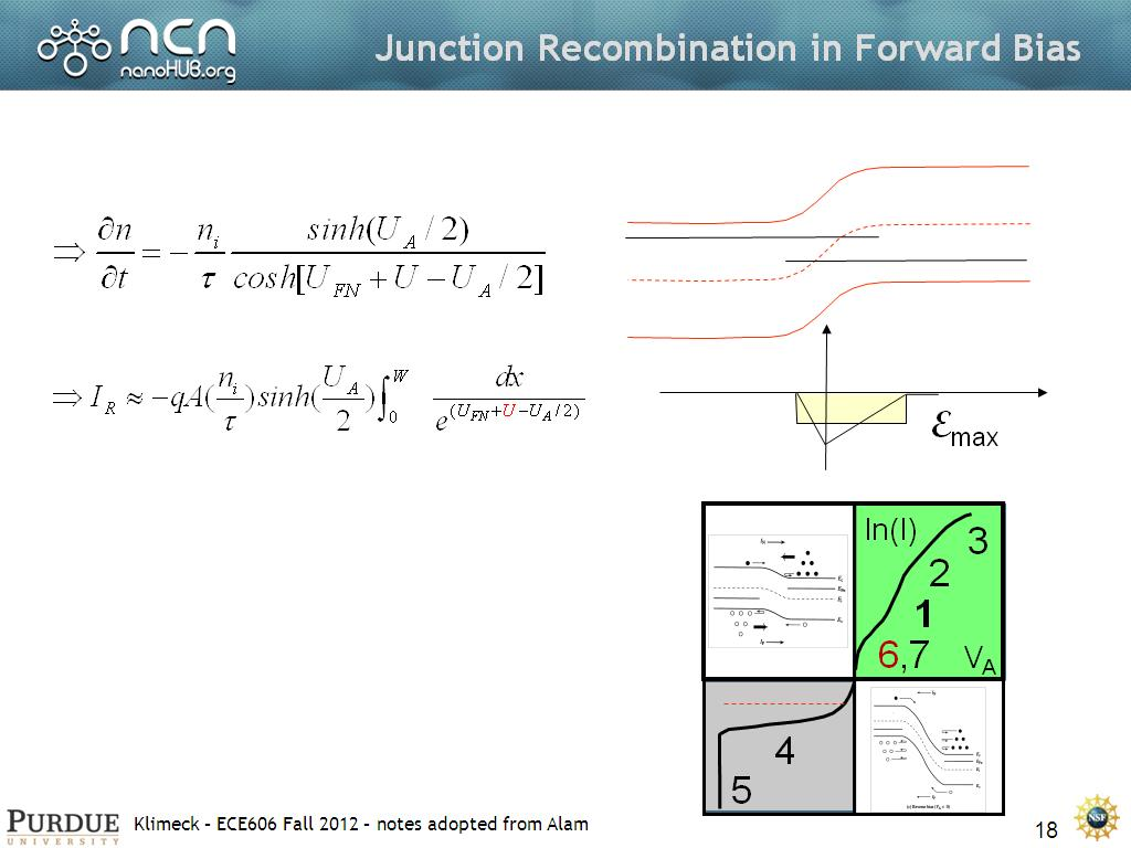Junction Recombination in Forward Bias