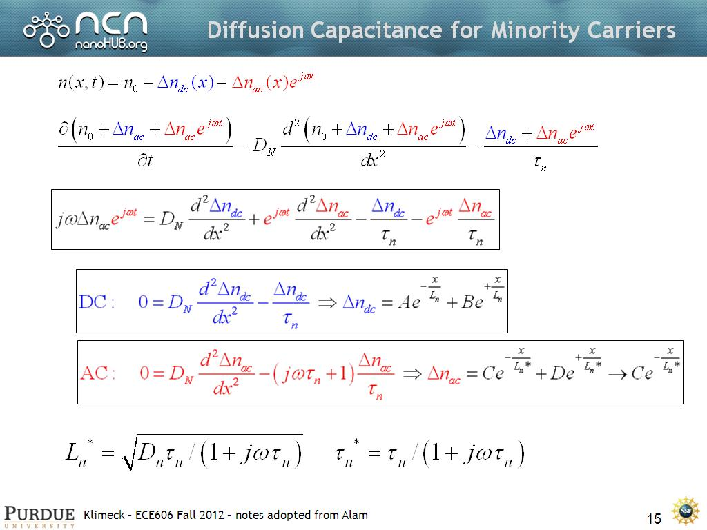 Diffusion Capacitance for Minority Carriers